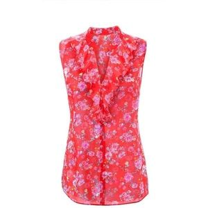 CAbi Crush Top Sleeveless Red Floral #5219